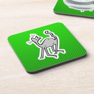 Cute Cat; Green Beverage Coaster