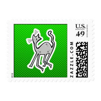 Cute Cat; Green Stamp
