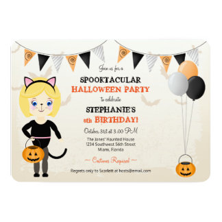 Cute Cat Halloween Party Card