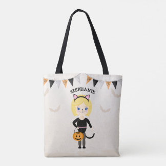 Cute Cat Halloween Party Tote Bag