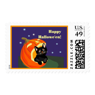 cute cat halloween postage stamp