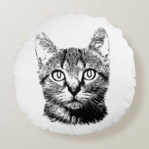 Cute Cat Hand Drawn Kitten Black & White Meow Round Pillow