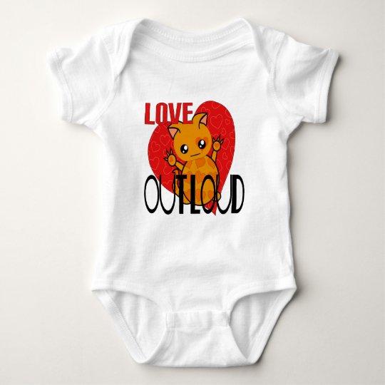 Cute Cat Hands Up Love Out Loud Baby Bodysuit
