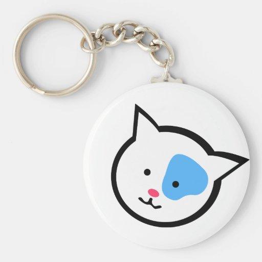 Cute Cat Head(Blue) Keychains
