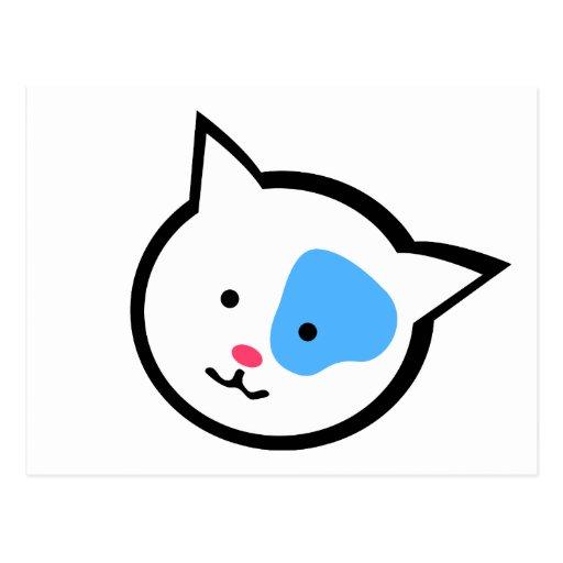 Cute Cat Head(Blue) Postcard