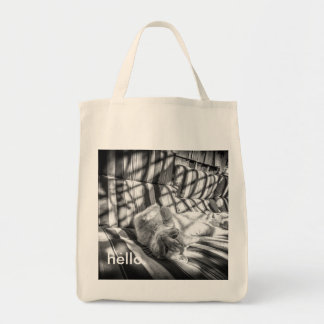 "Cute Cat ""Hello."" Grocery Tote"