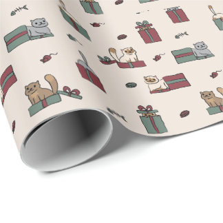 Cute Cat Holiday Wrapping Paper