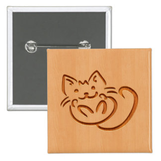 Cute cat illustration engraved on wood design button