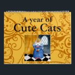 """Cute cat illustrations calendar<br><div class=""""desc"""">Twelve months of little cuties,  mostly featuring my cat Heather and a few mice.</div>"""