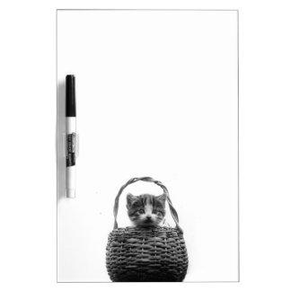 Cute Cat in a Basket Vintage Photo Dry Erase Board