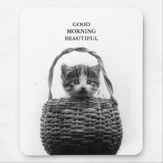 Cute Cat in a Basket Vintage Photo Mouse Pad