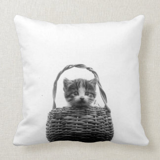 Cute Cat in a Basket Vintage Photo Pillow