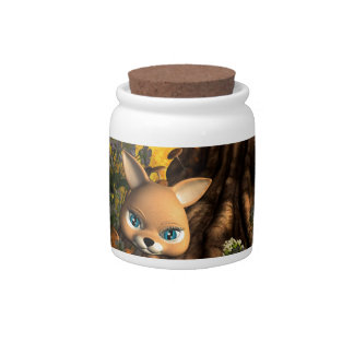 Cute cat in a fairy tale forest candy dish