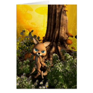Cute cat in a fairy tale forest greeting cards