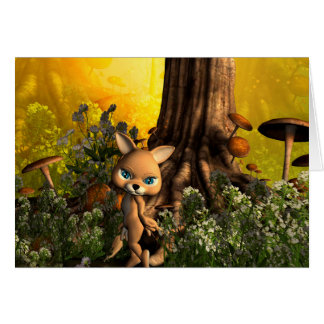 Cute cat in a fairy tale forest card