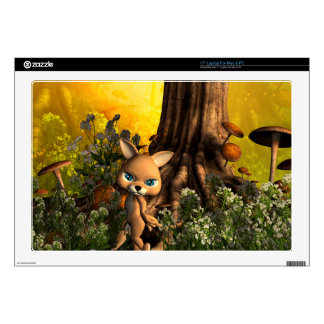 """Cute cat in a fairy tale forest 17"""" laptop decal"""