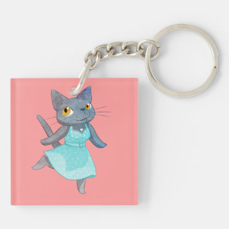 Cute Cat in a Polka Dot Dress Double-Sided Square Acrylic Keychain