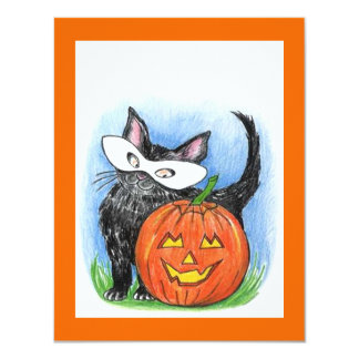 CUTE CAT IN COSTUME JOL HALLOWEEN PARTY INVITATION
