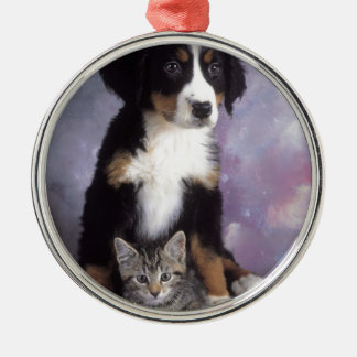 Cute cat in dog in love metal ornament