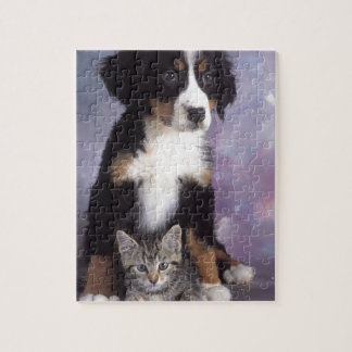 Cute cat in dog in love jigsaw puzzles