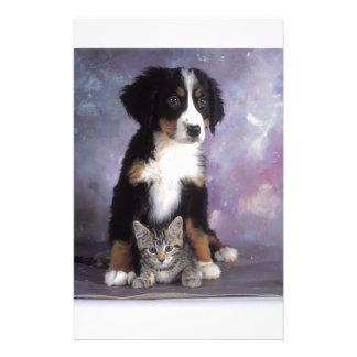 Cute cat in dog in love custom stationery