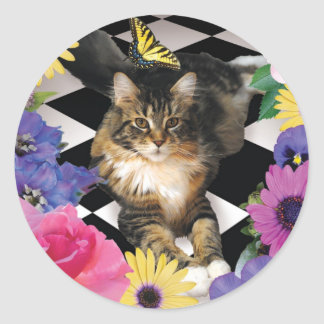Cute cat in fantasy flower garden stickers
