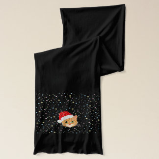 Cute Cat in Santa Hat Snowflakes Christmas Scarf