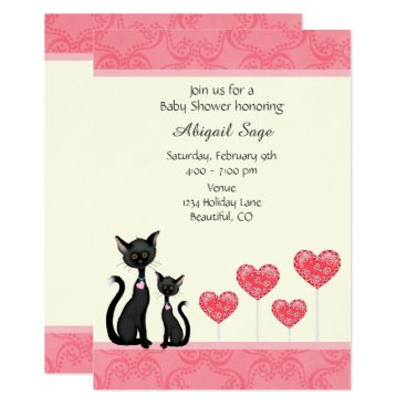 Toddler & Baby themed Cute Cat, Kitten and Hearts Baby Shower Invitation