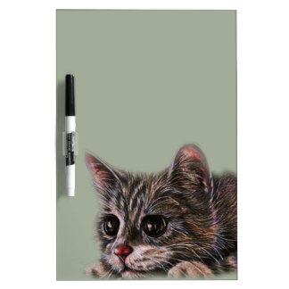 Cute Cat Kitten Art Drawing for Cat Lovers Dry-Erase Board