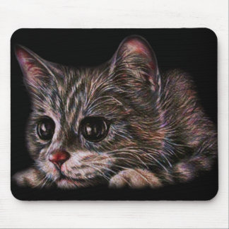 Cute Cat Kitten Art Drawing for Cat Lovers Mouse Pad