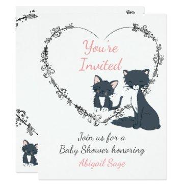 Toddler & Baby themed Cute Cat, Kitten, Flower Heart Baby Shower Invite