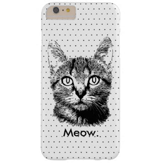 Cute Cat Kitten Meow Hand Drawn Polka Dots Barely There iPhone 6 Plus Case