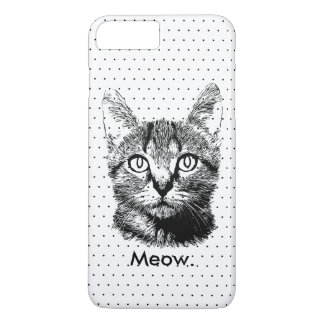 Cute Cat Kitten Meow Hand Drawn Polka Dots iPhone 7 Plus Case