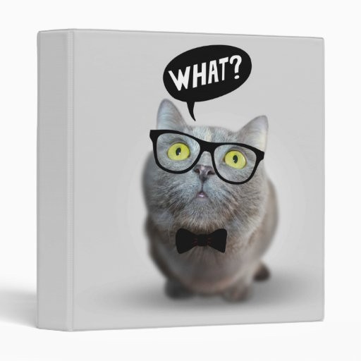 Cute Cat kitten with glasses what quote funny Binders