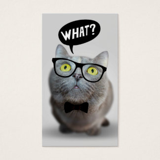 Cute Cat kitten with glasses what quote funny Business Card