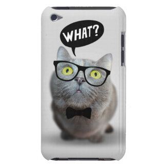 Cute Cat kitten with glasses what quote funny iPod Touch Covers