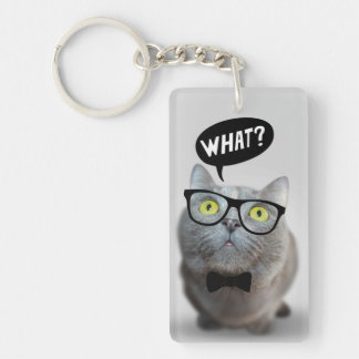 Cute Cat kitten with glasses what quote funny Single-Sided Rectangular Acrylic Keychain