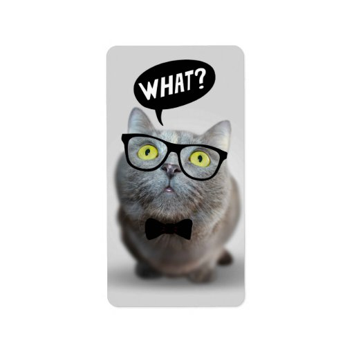 Cute Cat kitten with glasses what quote funny Personalized Address Label