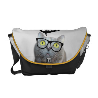 Cute Cat kitten with glasses what quote funny Messenger Bag