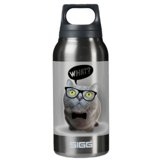 Cute Cat kitten with glasses what quote print Insulated Water Bottle