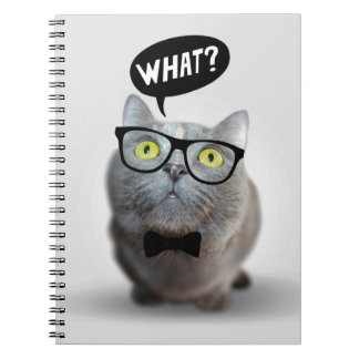 Cute Cat kitten with glasses what quote print Notebook