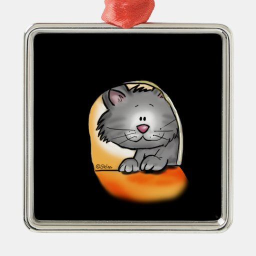 Cute Cat looking into a mouse hole Square Metal Christmas Ornament