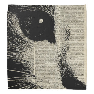 Cute Cat,Lovely Kitten Stencil Over Old Book Page Bandana