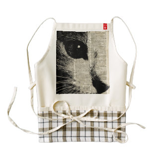 Cute Cat,Lovely Kitten Stencil Over Old Book Page Zazzle HEART Apron