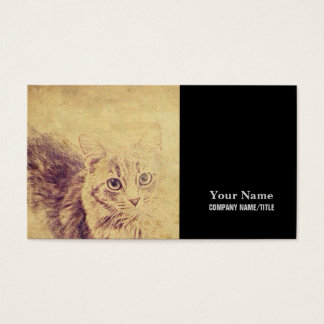 Cute cat lover pencil sketch grey tabby cat business card