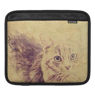 Cute cat lover pencil sketch grey tabby cat iPad sleeve