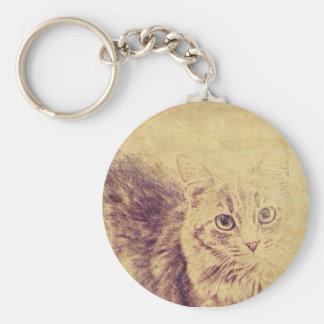 Cute cat lover pencil sketch grey tabby cat keychain