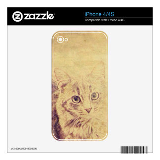 Cute cat lover pencil sketch grey tabby cat skin for iPhone 4S