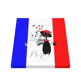 Cute Cat Lovers In Paris Blue White Red FrenchFlag Canvas Print