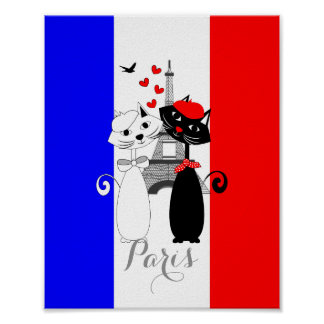 Cute Cat Lovers In Paris Blue White Red Tricolour Poster